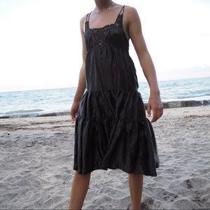 Silk Olive Midi Dress